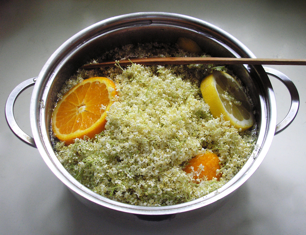 Making Elderflower Syrup