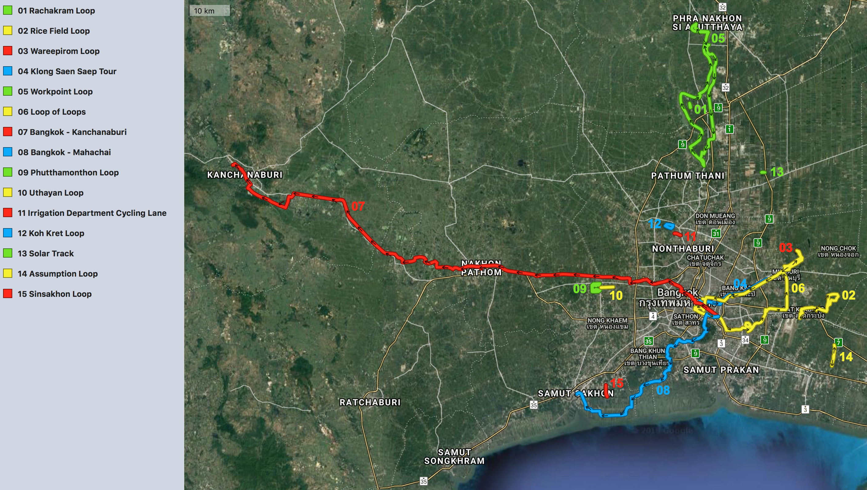 Overview of cycling routes around Bangkok